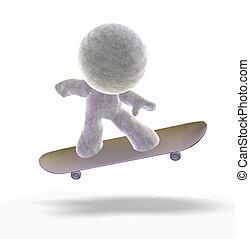 Skateboarding 3D man - Abstract 3D cartoon of a soft toy man...