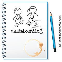 skateboarding, aantekenboekje, dekking, twee mensen