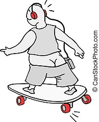 skateboarding and listening music funny draw