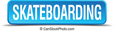 skateboarding blue 3d realistic square isolated button