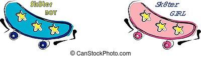 Skateboarding blue logo with stars vector line art