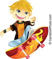 A vector illustration of a skateboarding boy