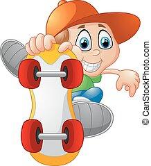 Skateboarding boy - vector illustration of Skateboarding boy