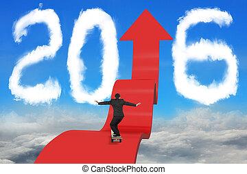 Skateboarding businessman on arrow upward path with 2016 sky cloudscape