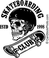 Skateboarding club. Emblem with skull in skateboard helmet. Design element for logo, label, sign, poster.