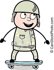Skateboarding - Cute Army Man Cartoon Soldier Vector Illustration