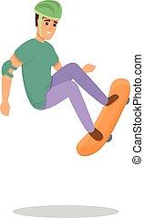 Skateboarding extreme icon, cartoon style
