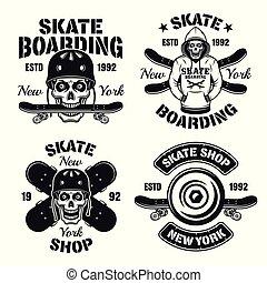 Skateboarding extreme sport set of vector emblems