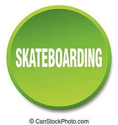 skateboarding green round flat isolated push button