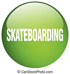 skateboarding green round gel isolated push button