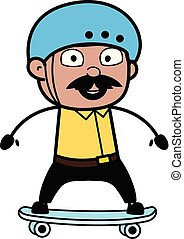 Skateboarding - Indian Cartoon Man Father Vector Illustration