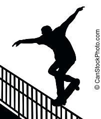Skateboarding Skater do Nosegrind Rail Slide with Board Silhouette