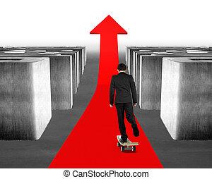 Skateboarding on red arrow through 3d Maze