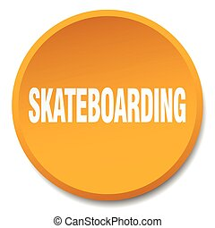 skateboarding orange round flat isolated push button