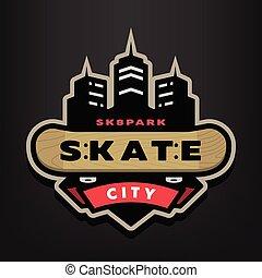Skateboarding park logo, emblem on a dark background.