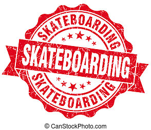 skateboarding red grunge seal isolated on white