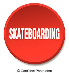 skateboarding red round flat isolated push button