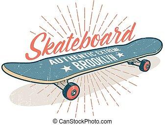 Skateboarding retro emblem with a gray blue skateboard
