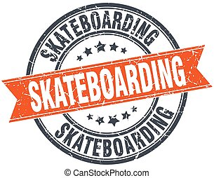 skateboarding round orange grungy vintage isolated stamp