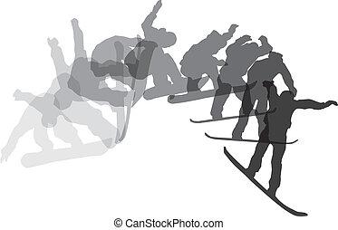 Skateboarding sequence. Vector illustration