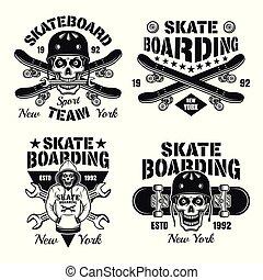 Skateboarding set of four vector isolated emblems