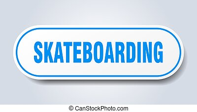 skateboarding sign. rounded isolated button. white sticker