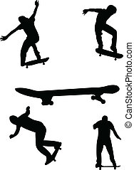 Skateboarding silhouettes - vector