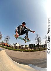 skateboarding - skateboarder in action at the local skate ...