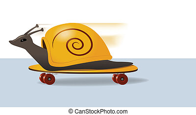 Skateboarding Snail - Illustration of a snail zooming along...