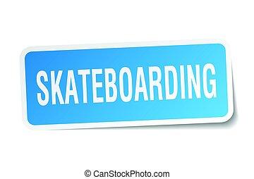 skateboarding square sticker on white