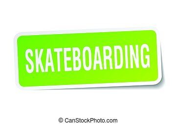 skateboarding square sticker on white