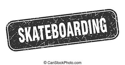 skateboarding stamp. skateboarding square grungy black sign