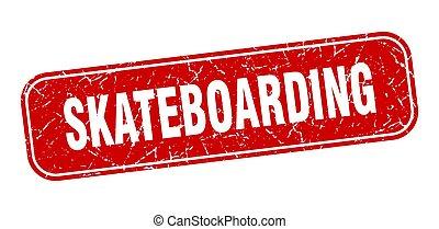 skateboarding stamp. skateboarding square grungy red sign