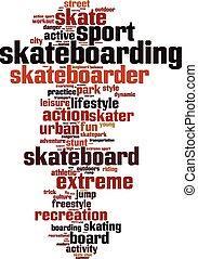 skateboarding, szó, felhő