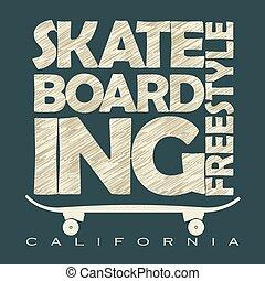Skateboarding t-shirt emblem