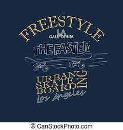 Skateboarding t-shirt graphic design - vector