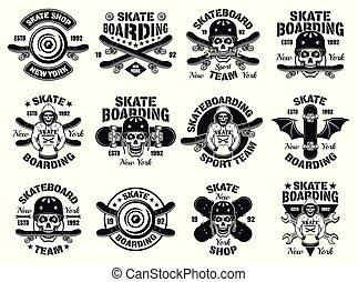 Skateboarding twelve vector isolated emblems