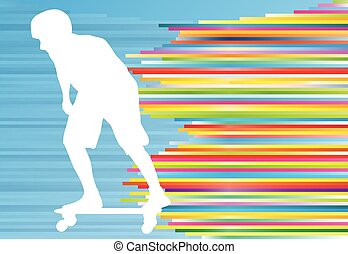 Skateboarding vector background abstract illustration with colorful stripes