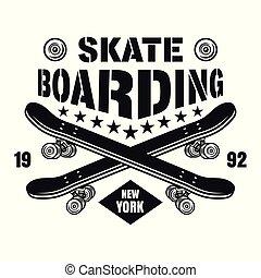Skateboarding vector emblem with two skate decks