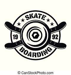 Skateboarding vector emblem with wheel and decks