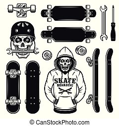 Skateboarding vector objects, design elements