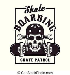 Skateboarding vector print with skull in helmet