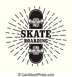 Skateboarding vector stamp or label with rays