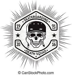 Skateboarding vintage label with skull in helmet. vector