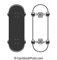 skateboards, antigas, experiência., vetorial, jogo, branca