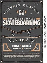 Skateboards, decks and wheels. Skateboarding sport