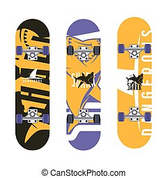 Skateboards graphic design with the image of sharks