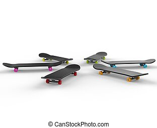 Skateboards with colorful wheels 2