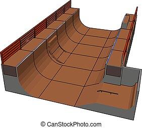 skatepark, イラスト, 白, 大きい, ベクトル, バックグラウンド。