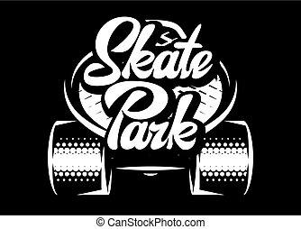 skatepark, 碑文, 背景, -, 白, calligraphic, 黒いスケートボード, 流行